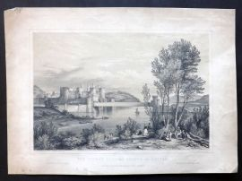 G. Hawkins after G. Pickering 1848 Print. Conway Tubular Bridge and Castle Wales
